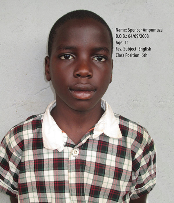 AMPUMUZA SPENCER . DOB. 04.09.2008. AGE. 11YRS. F. SUB. ENGLISH. CLASS. P.6