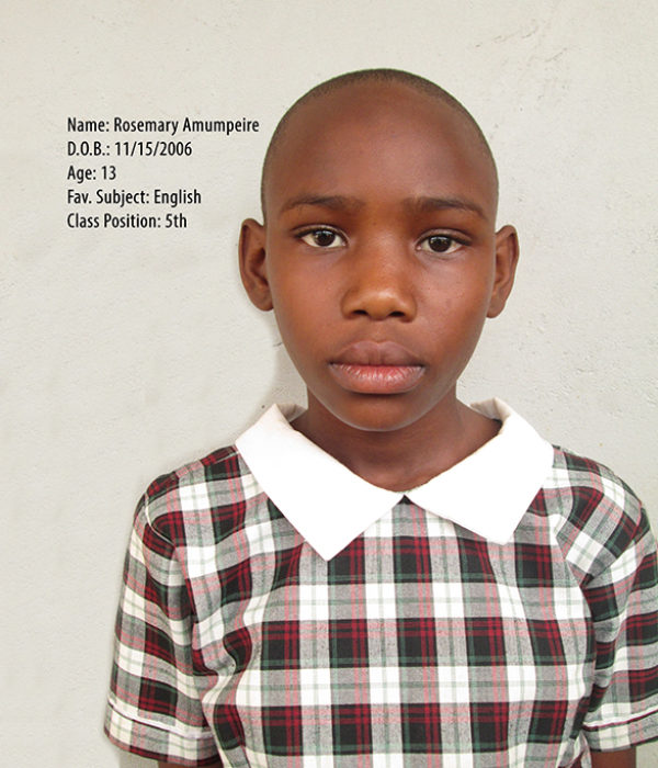 AMUMPEIRE ROSEMARY. DOB.15.11.2006. AGE. 13YRS. FS. ENGLISH. CLASS. P.5 CLASS