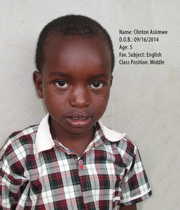 ASIIMWE CLINTON. DOB.16.09.2014. AGE. 5YRS. FS. ENGLISH. CLASS. MIDDLE