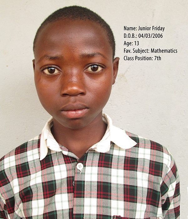 FRIDAY JUNIOR. DOB. 03.04.2006. AGE. 13YRS. FS. MATHEMATICS. CLASS. P.7