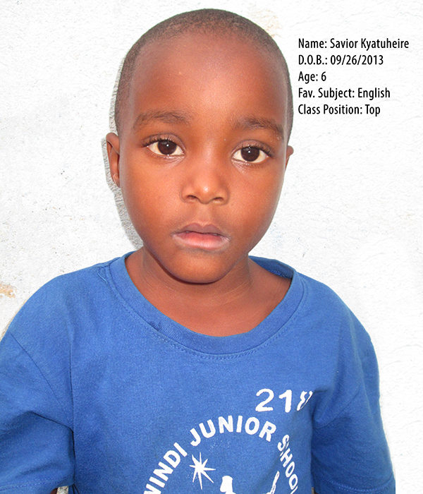 KYATUHEIRE SAVIOR. DOB. 26.09.2013. AGE. 6YRS. FS. ENGLISH. CLASS. TOP.